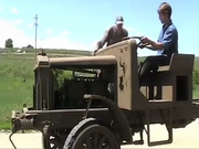 "Dalton Reed, 24, talks about the 1918 ""Liberty"" truck he restored for the Wyman Museum. The museum will be meeting up with the Military Vehicle Preservation Association 2009 Transcontinental Motor Convoy in Rawlins, Wyo, June 28."