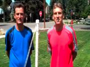 Peter Shunny, left, and Bruce Guettich are headed to Germany to compete in the International Footbag Players Association World Footbag Championships.