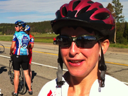 Steamboat Springs resident Kym Rudnick talks Saturday about how the first part of her 110-mile Tour de Steamboat ride is going.