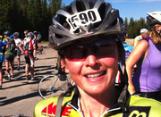 Superior resident Frindee Daly talks Saturday about how the first part of her 110-mile Tour de Steamboat ride is going.
