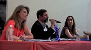Sen. Jean White, Rep. Randy Baumgardner and candidate Sacha Weis debate issues Thursday night at the Center of Craig.