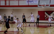 Highlights from Day 1 of the Steamboat Springs Shoot-Out: Steamboat Springs vs. Montezuma-Cortez. Carter Kounovsky brings the ball up the court and shoots the long ball for 3 then plays tough defense and goes up for the breakaway layup followed by Garrett Bye with the put back dunk. Brody King looks for and drains a long 2. Sailors won 50-26.